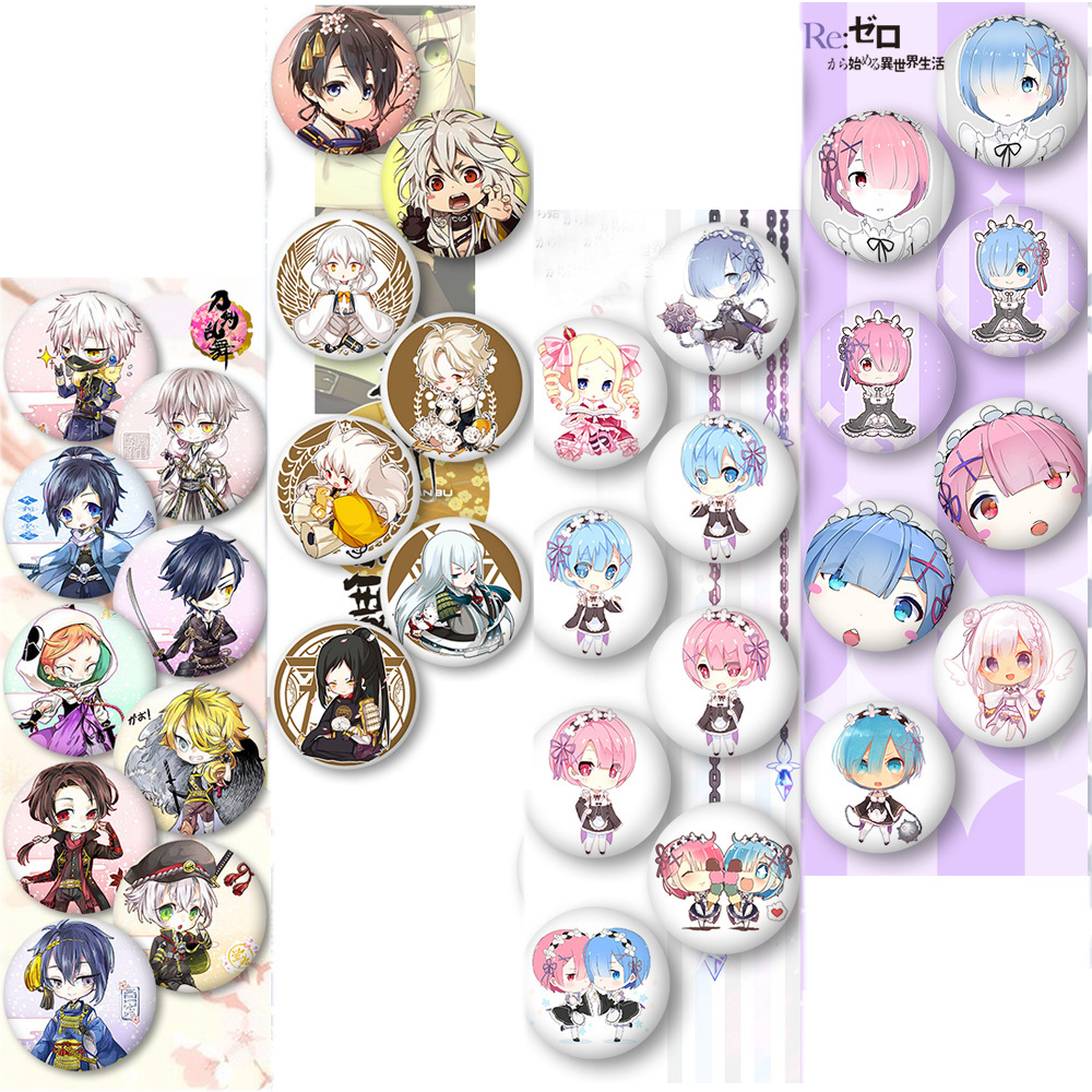 Anime RE: ZERO Starting Life In Another World Rem Ram Cosplay Badges Touken Ranbu Brooch Pin Collections Badge For Backpack