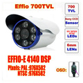 Free shipping real ccd bullet camera sony effio 700 tvl six lamps array led infrared osd menu waterproof ir 30m c592h