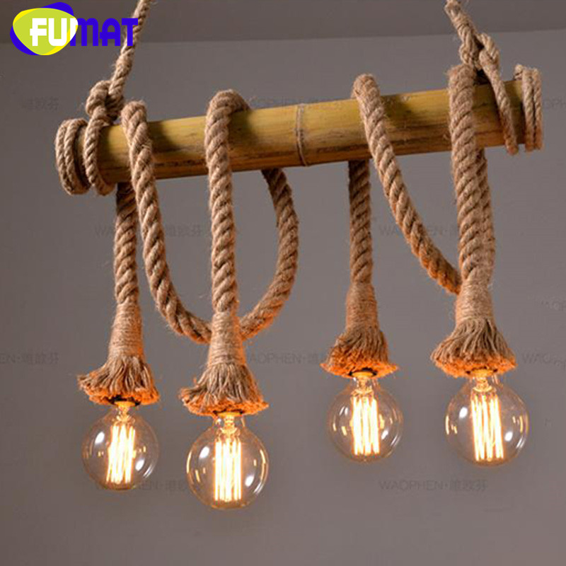 FUMAT Rope Pendant light Bamboo Hemp Suspension Lamp Vintage Retro industrial style Loft Dinning Room Foyer Hanging Lamp nordic resin retro loft style industrial lighting vintage pendant lamp fixtures dinning room led hanging light lamparas