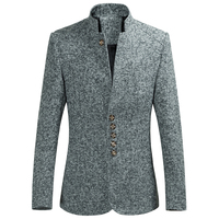 Plus Size Men Blazer Autumn Winter New Slim Fit Casual Blazer Jackets Men Long Sleeve Stand Collar Business Dress Suit Jackets