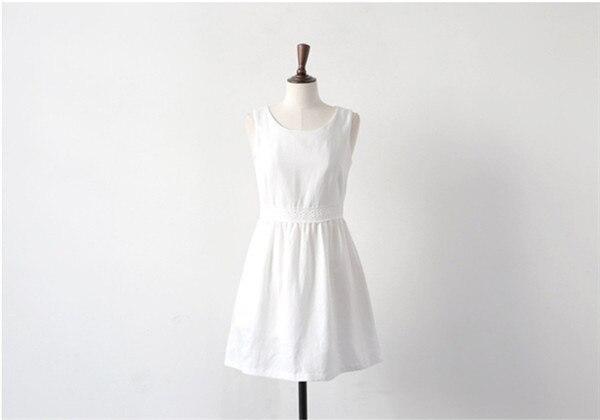 409881dcb11 2015 Summer vestido de renda mori girl white blue linen cotton dress hollow  out casual