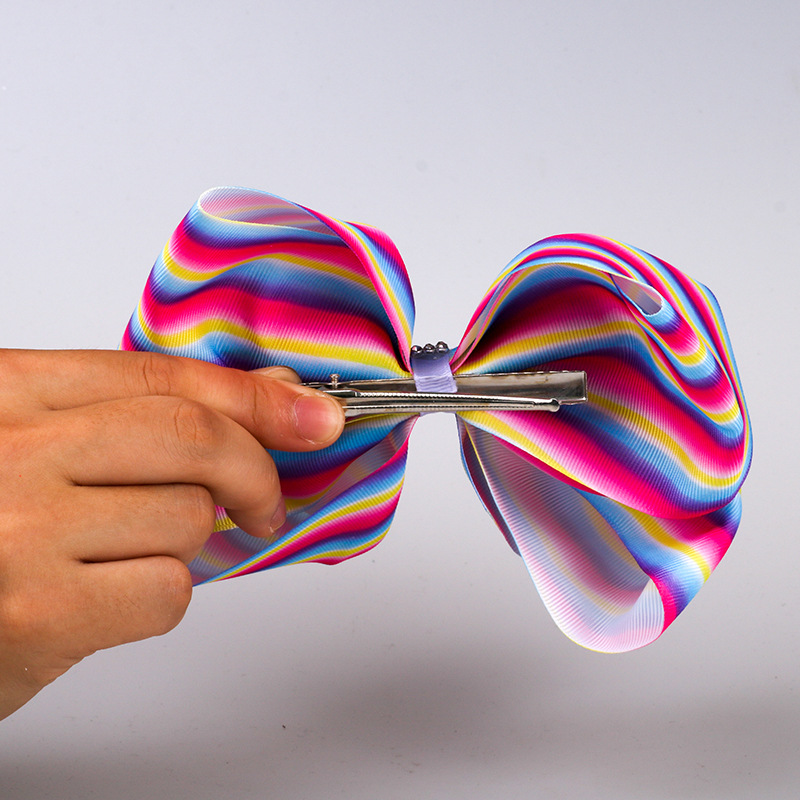 8 quot party Large Bows Hairgrips for Girls Hair Clips Kids Handmade Barrettes Metalic Printed Ribbon Hair Claws Hair Accessories in Hair Accessories from Mother amp Kids