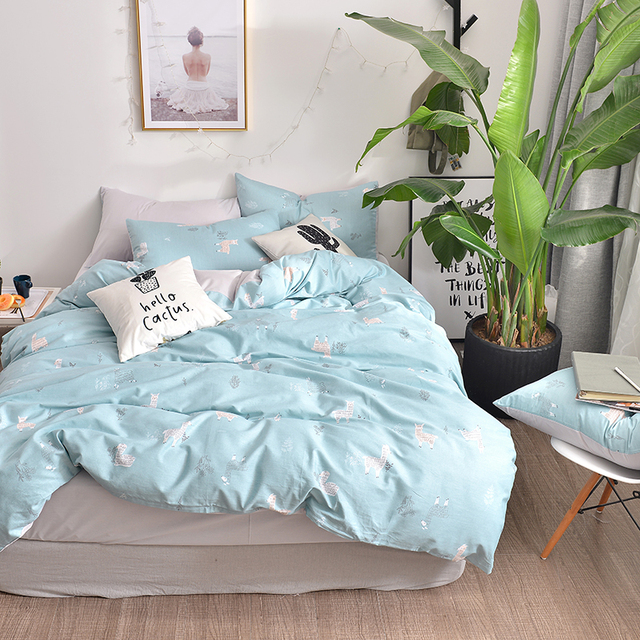 Aliexpress Com Buy 2018 Cute Alpaca Light Blue Bedding Set Cotton