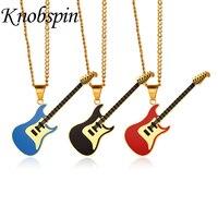 Moda Müzik Severler Enstrüman Kolye Kadınlar için kolye Erkekler Paslanmaz Çelik Kırmızı/Mavi/Siyah Emaye Gitar Kolye Takı