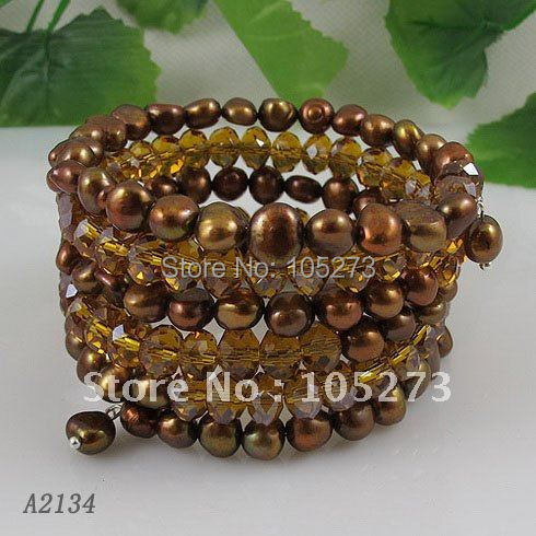 Wholesale AA 5-6mm brown color Genuine fresh water pearl and crystal beads bracelet 5rows bracelet 8pcs/lot free shipping A2134