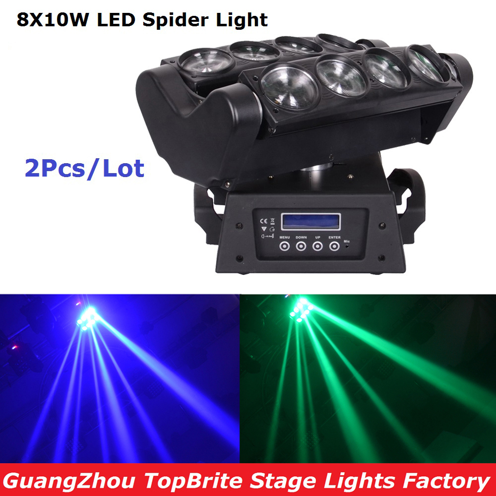 Cheap Price High Quality 2XLot LED Moving Head Beam Light 8X10W RGBW 4IN1 Led Spider Lights For Stage Party Wedding Nightclubs freeshipping 2xlot 16 head led moving head spider light endless rotation 16x25 high power rgbw 4in1 beam full color lcd display