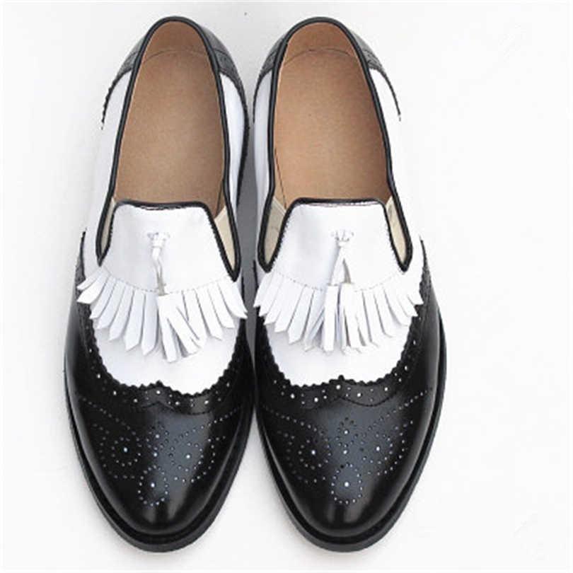 Zapatos oxford de primavera para mujer, mocasines de cuero genuino para mujer, zapatillas oxfords para mujer, zapatos con borla para mujer, zapatos de verano 2019