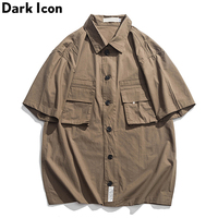 Dark Icon Turn down Collar 2 Pockets Loose Men's Shirt Short Sleeved Cargo Shirts 2019 Summer Streetwear Clothing