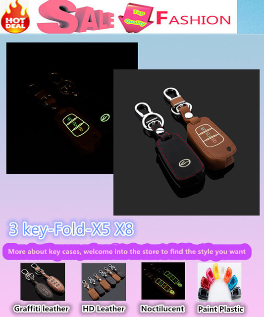 Top Quality car styling cover detector Luminous Leather keys bag cases chain Keychain Wallet intelligent/fold for Landwind X5 X8
