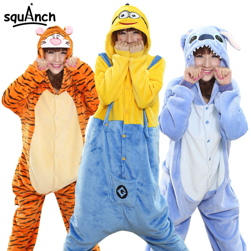 Women Onesies Animal Kigurumis Adult Unisex Overalls Winter Pajama Sleep Jumpsuit Cartoon Stitch Panda Funny Suit Flannel Outfit