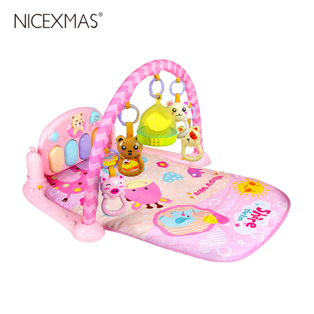 NICEXMAS Pedal Piano New Born Baby Discover Education Toys Play Piano Gym Concert Hall Projector Rattle (Blue & Pink )