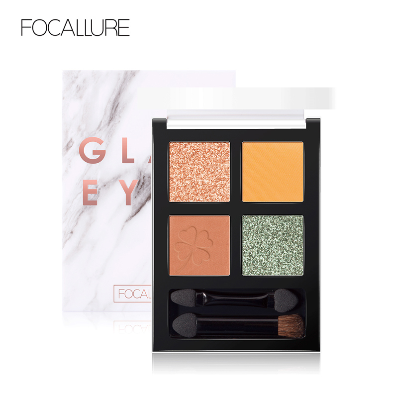 FOCALLURE Brand New 4 Colors Glitter Eyeshadow Palette Long Lasting Waterproof Eye Shadows Palette For Daily Shadows