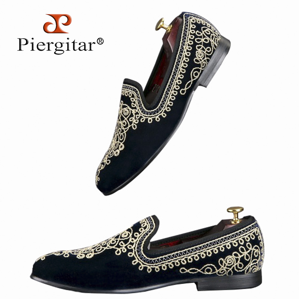 Luxurious Handmade Embroidered Motif Paisley Men Velvet Loafer Slippers Men Wedding and Party shoe Size 6-14 Free Shipping