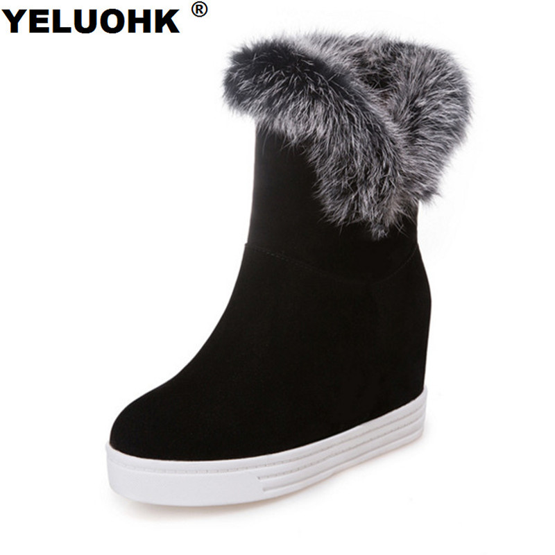 Large Size 43 Winter Boots For Women Shoes High Heels Casual Platform Shoes Ankle Boots For Women Plush Women High Boots стоимость
