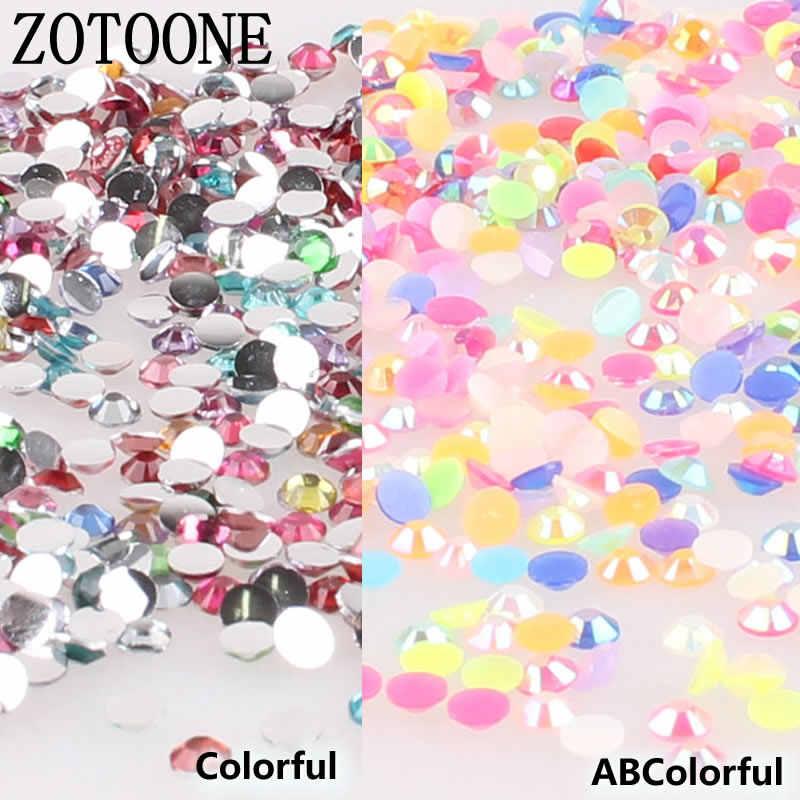 ZOTOONE Mix Size 1000 unids/lote de diamantes de imitación de 3-5MM cristales coloridos y piedras AB pegamento de hierro sobre diamantes de imitación para la ropa D