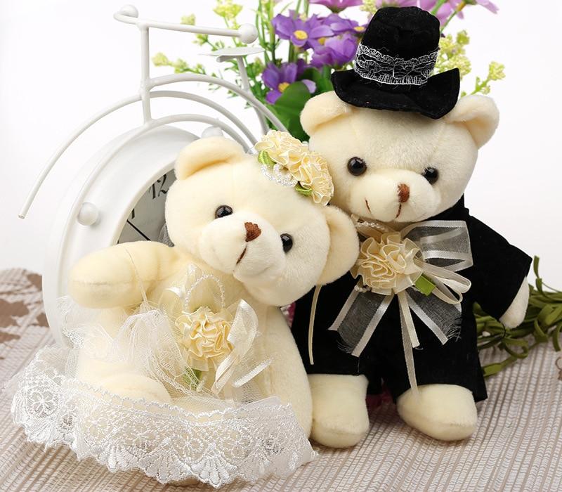 Kawaii 1Pair NEW Wedding Gift Bride & Groom Bear Bouquet DOLL TOY ; Plush Stuffed TOY Size12*6CM Soft Figure DOLL TOY