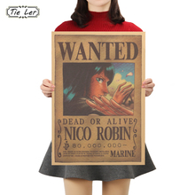 TIE LER One Piece E Style Nico Robin Cartoon Movie Kraft Paper Wanted Poster Wall Decorative Sticker 51.5X36cm(China)