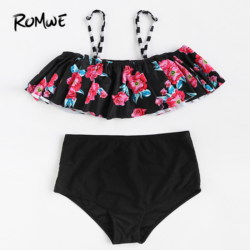 Romwe Sport Calico Print Flounce Design High Waist Bikini Set Women Chest  Pad Sexy Swimwear 2018 Summer Beach Floral Swimsuits -in Body Suits from  Sports ... c6f2350b56c7