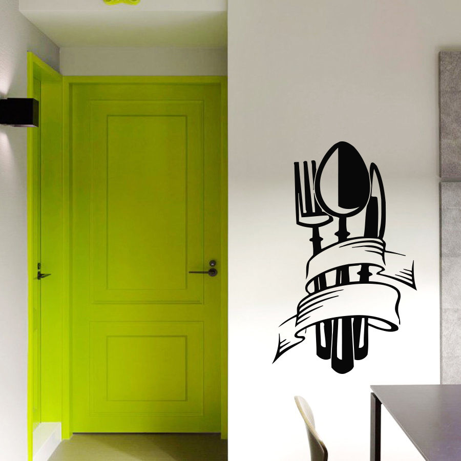 Vinyl Wall Decals Kitchen Knife Fork Spoon Decal Sticker Home Decor Art
