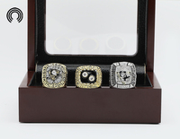 Factory Sales Ring Sets With Wooden Boxes Replica Hockey Copper 3pcs Packs Pittsburgh Penguins Championship Ring