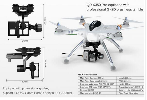 Walkera QR X350 Pro GPS Drone 6CH Brushless UFO DEVO F7 Transmitter RC Helicopter Quadcopter Compatible Gopro3 3+ Free Shipping walkera qr new ladybird v2 ufo quadcopter with devo 4 transmitter ready to fly free shipping