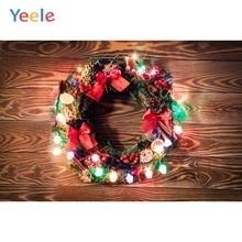 Yeele Christmas Photocall Wood Decor Garland Lights Photography Backdrops Personalized Photographic Backgrounds For Photo Studio
