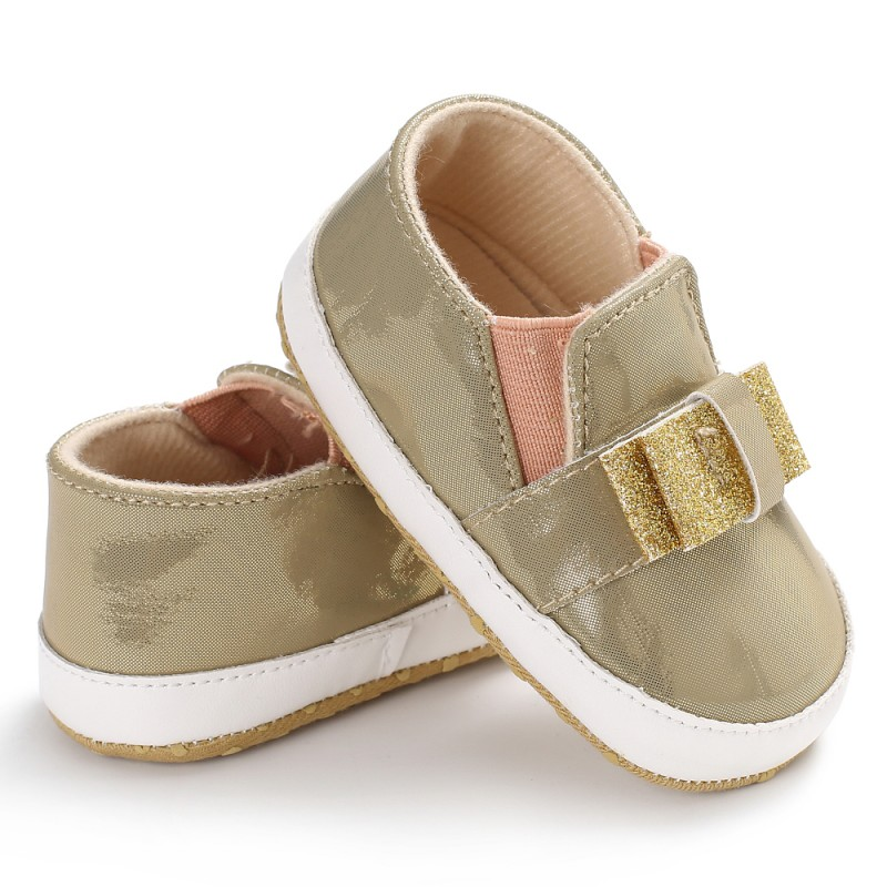 PU Leather Baby Shoes First Walkers Leisure Baby Moccasins Sneaker Soft Sole Newborn Bling Sequins Bow