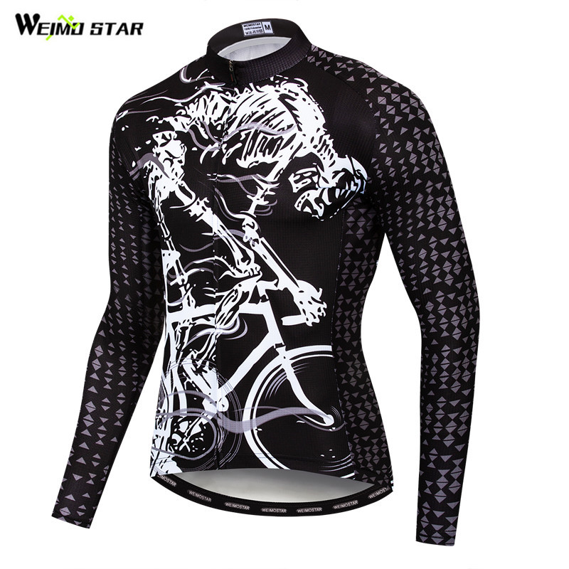 81566b50f Weimostar Printing Skull Cycling Jersey Long Sleeve Men Autumn Road Bike  Clothing MTB Bicycle Jersey Top Quick Dry Cycling Shirt