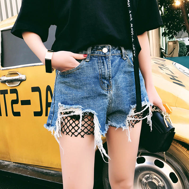 Hole Jeans Shorts Street-Wear Sexy High-Waisted Plus-Size Women Denim Ladies For Euro-Style