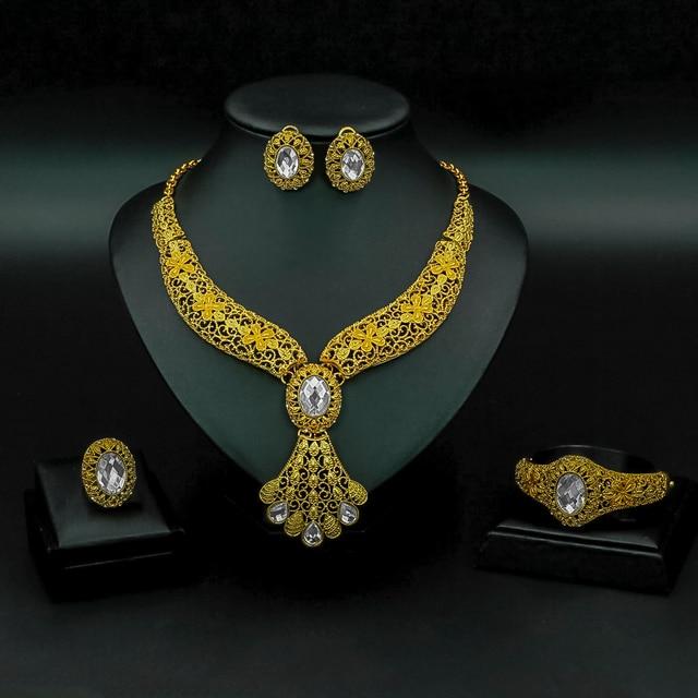 Liffly אופנה כלה תכשיטי סט נשים מתנות דובאי זהב חתונה אפריקאית חרוזים תכשיטי סט מותג שרשרת אביזרים