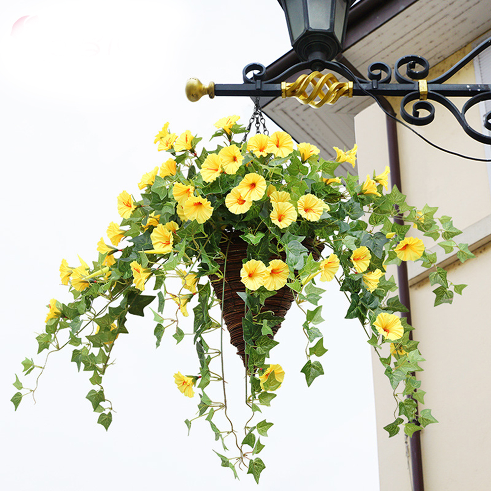 Hot Artificial Morning Glory Vine Hanging Wall Plant Garland Fake Garden Wall Fence Window Greenery Leaf Artificial Plants Decor Гриль