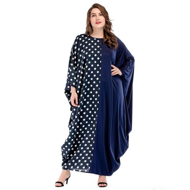 0fcae9a3b2cd Middle East Women Muslim Maxi Dress Abaya Dubai Kaftan islamic Dresses  Patchwork Polka dot Batwing Sleeve