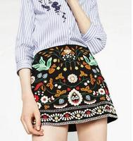 Fashion 2016 Women S Beautiful Flowers Embroidery National Trend Bust Skirt High Waist Skirt Q035