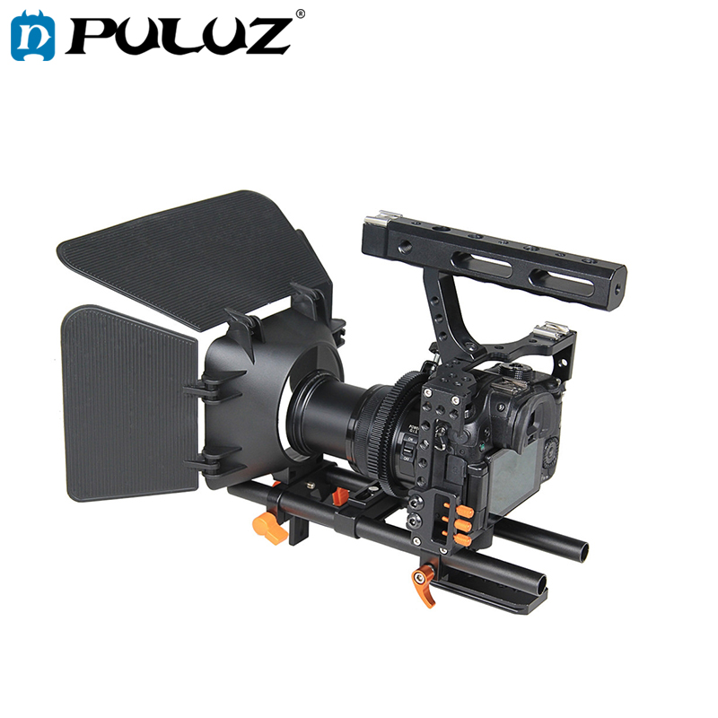 PULUZ jaula de cámara de vídeo jaula estabilizador de enfoque de seguimiento caja mate para Sony A7S/A7/A7R/A7RII /A7SII/Panasonic Lumix GH4