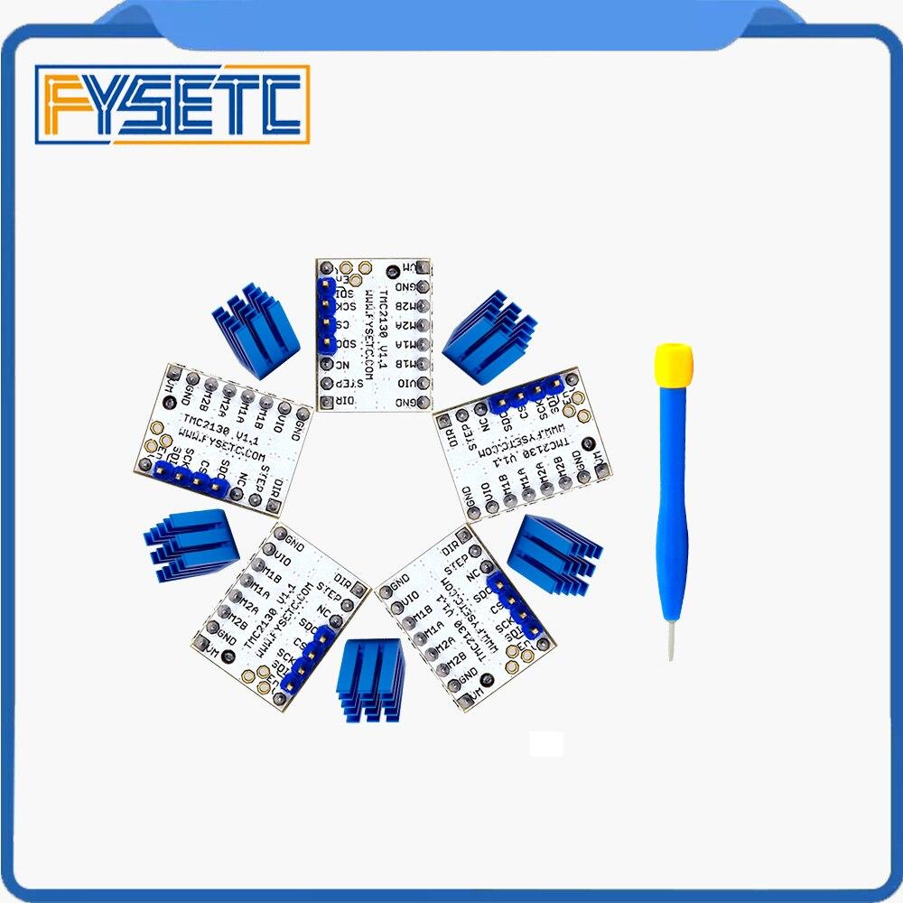 5X MKS TMC2130 V1.1 Per Funzione SPI Stepstick Driver Del Motore Passo-passo con Dissipatore di Calore Ultra-silenzioso VS TMC2100 TMC2208 TMC2130 V1.0