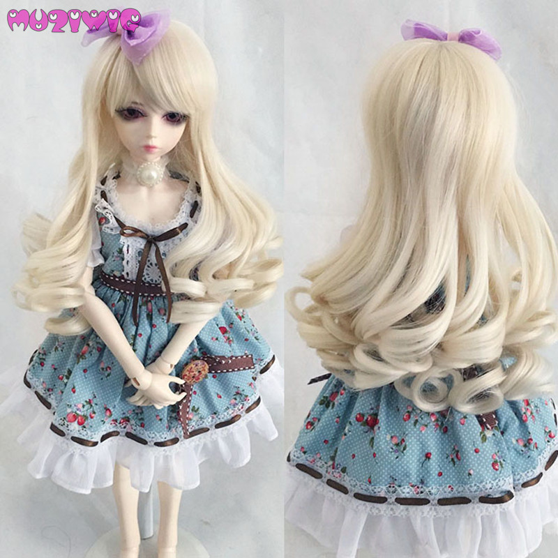 MUZIWIG Synthetic Beige Jerry Long Curly Doll Wig Hair With Skew Bangs For Bjd 1/3 1/4 1/6 1/8 SD Dolls Wigs Accessories On Sale