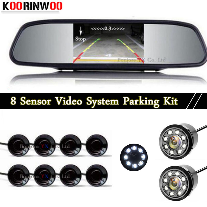 цена на Koorinwoo HD Parktronic Front Probes Car Rear view Camera LED Digital Mirror Monitor Car Parking Sensors 8 Probes Buzzer BIBi