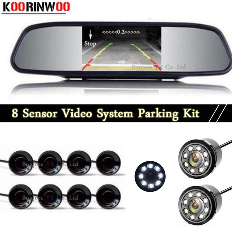 цена на Koorinwoo HD Parktronic Front Probes Car Rear view Camera LED Digital Mirror Monitor Car Parking Sensors 8 Probes Buzzer BIBi