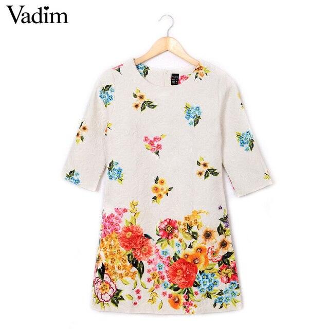 Women'S Floral Print Dress O Neck Three Quarter Sleeve Vintage Casual Slim Jacquard Dress Qz1707