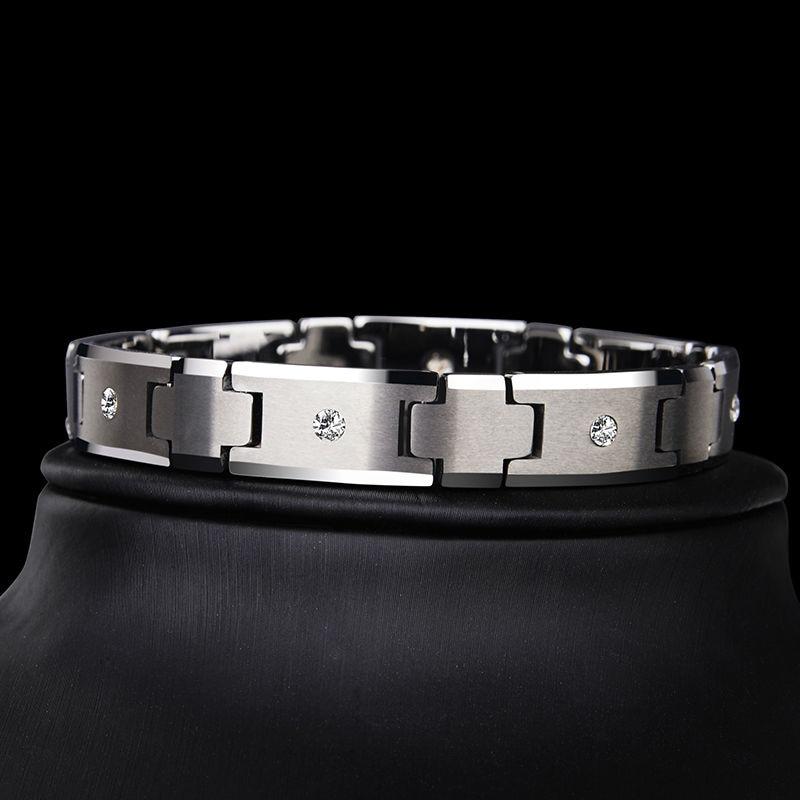 Saya Brand High Quality Silver Tones Tungsten Carbide Chain Bracelet for Man Jewelry inlay CZ Stones