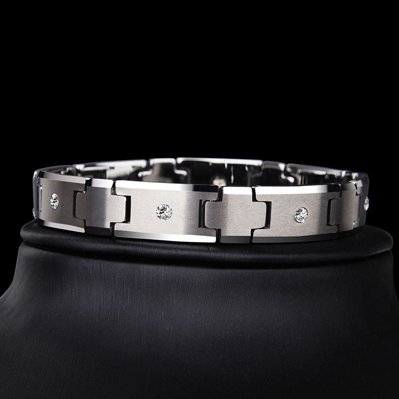 Saya Brand High Quality Silver Tones Tungsten Carbide Chain Bracelet for Man Jewelry inlay CZ Stones 10mm Width 20 cm Length 2018 new arrival 10mm width black ceramic bracelet tungsten links for man inlay luxury opal 18 5cm 20cm length free shipping