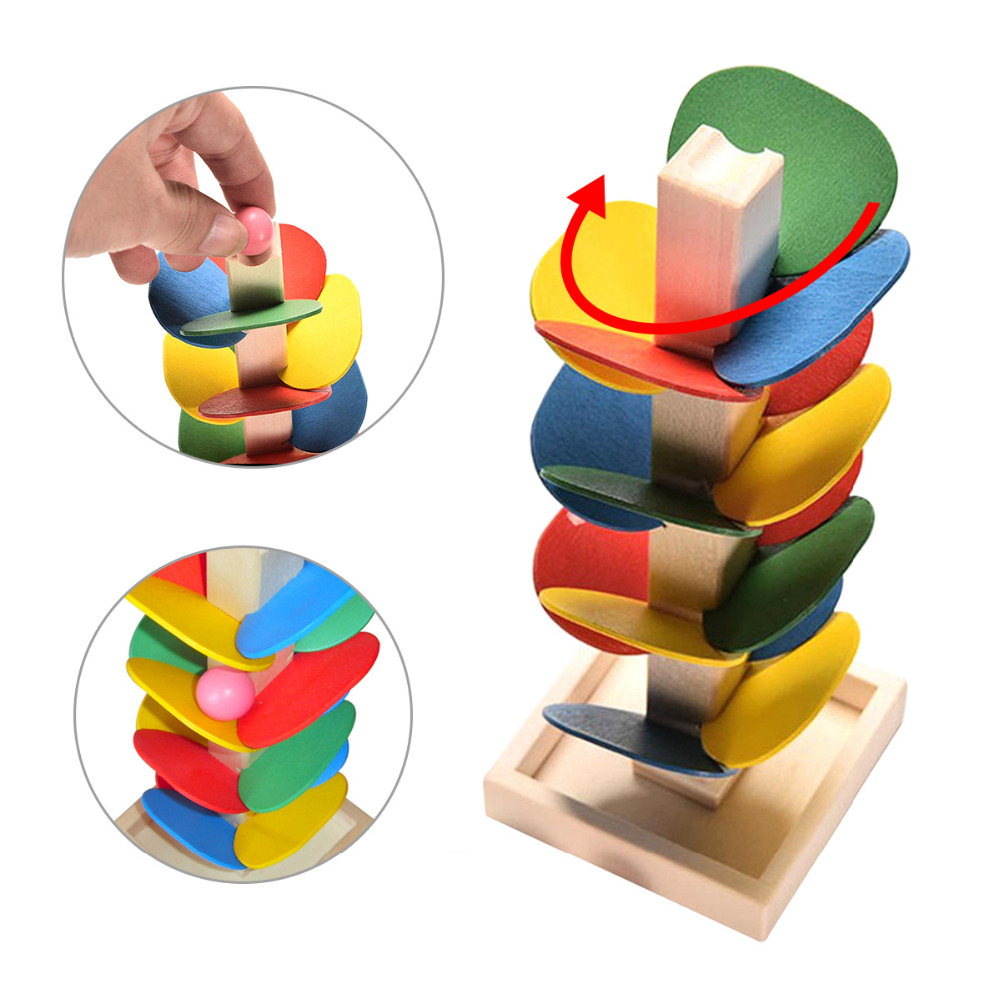 1 Set Blok Pohon Kayu Marmer Ball Run Track Permainan Kanak-kanak - Mainan pembinaan - Foto 1