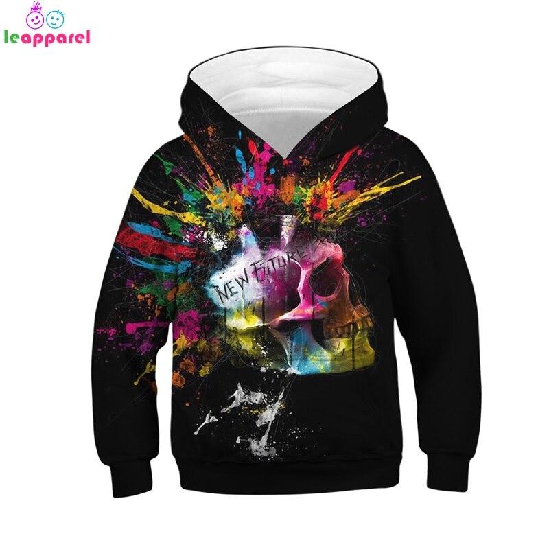 New Cool Skull Girls Boys Hoodies 2019 Autumn Winter Long Sleeve Hoodie Sweatshirt Pullover Hoodies Tops Kids Clothes hoodie