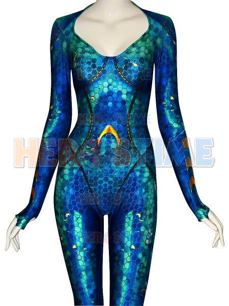Le plus récent Costume de Cosplay de fille Version de film d'aquaman Costume de Zentai de Spandex de haute qualité Costume d'halloween de Mera pour la femme