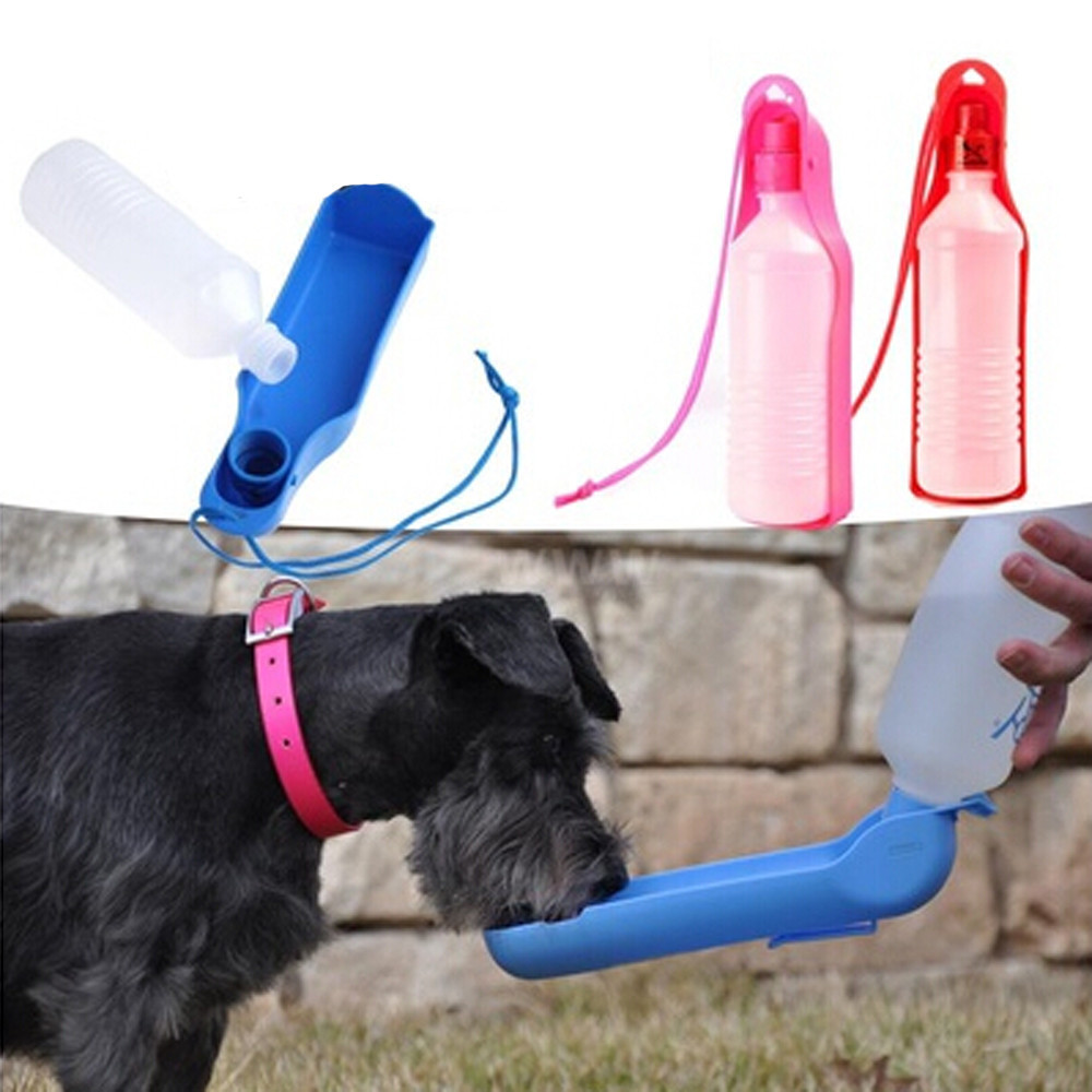 500ml Dog Water Bottle Feeder With Bowl Plastic Portable Water Bottle Pets Outdoor Travel Pet Drinking Water Feeder @A