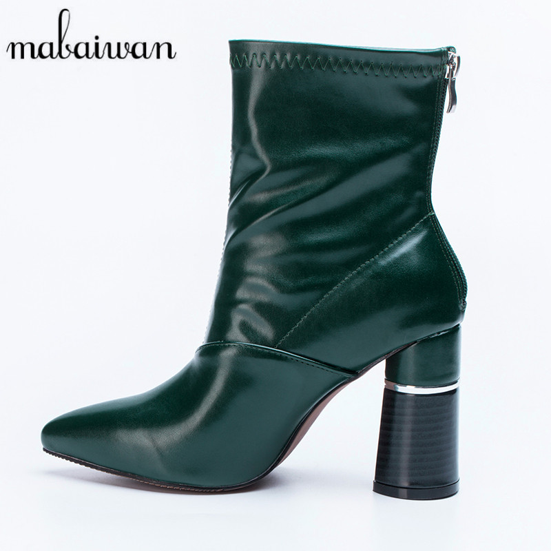 Mabaiwan Green Women Short Booties Chunky High Heels Back Zipper Ankle Boots Pointed Toe Women Pumps Winter Boots Sock Botas amazing designer booties patent leather patchwork ankle boots chinel high heels zipper autumn motorcycle boots for women pumps