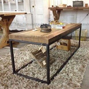 Hierro Americano LOFT Industrial Retro Salón Sofá Mesa De Centro De Madera  Tatami Mesa De Café