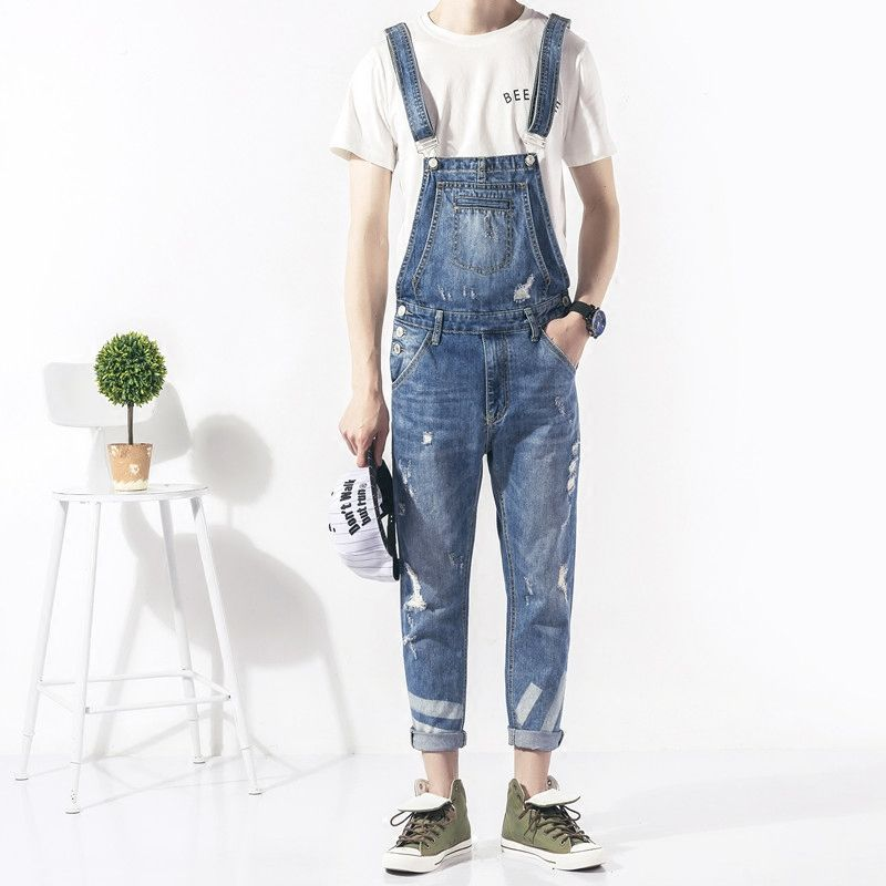 2017 Spring Autumn Fashion mens skinny jean overalls Casual bib jeans for men Male Ripped denim jumpsuit Suspenders Bibs 050701 new mens skinny jean overalls blue suspenders multi pocket bib pants holes denim trousers size m 2xl
