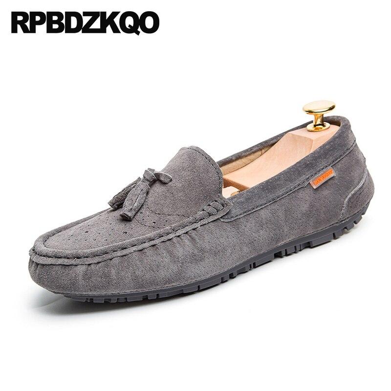 Printemps Style Britannique 2018 Designer Light grey En De blue Brogue Daim  brown khaki Hommes Glissement Conduite Marque Mocassins Chaussures ... 760ee81f87f