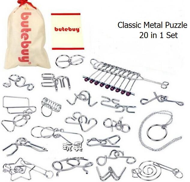 Lot de 20 pièces classique métal fil Puzzle magique cerveau Teaser Puzzles jeu jouets pour adultes enfants enfants